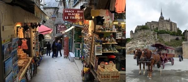 De gauche à droite : une ruelle très marchande à l'intérieur du Mont-Saint-Michel ; Balade en calèche  © Catherine Gary