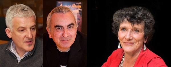De gauche à droite : Olivier Huguenot © lindigomag ; Tonino Benacquista © DR ; Isabelle Autissier © Babelio.com; tous deux faisant partie des membres du Jury qui décerneront le premier Prix de la BD Géographique  qui sera remis à la Tour de la Liberté le dimanche 2 octobre.