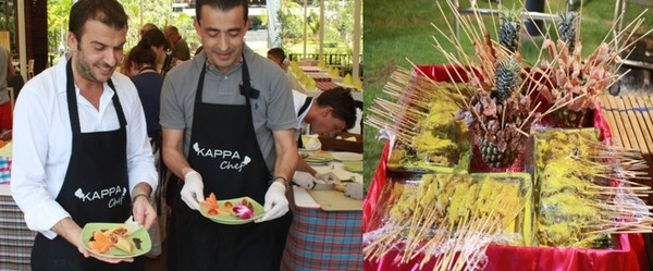 Deux chefs grecs sont venus renforcer l'équipe Thaï pour étoffer l'offre des buffets proposés midi et soir.   © Patrick Cros