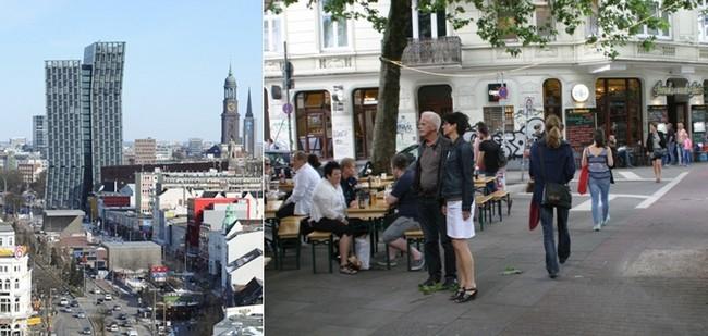 Le quartier de  Reeperbahn et Sankt Pauli et celui de Landungs-Brucken qui alignent terrasses de cafés, restaurants, snacks et crêperies. © Richard Bayon