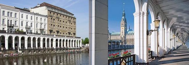 Au cœur même de la ville, les quartiers de l'Hôtel de Ville 'Rathaus', ou de St Michaelis concentrent le Hambourg des affaires © Richard Bayon