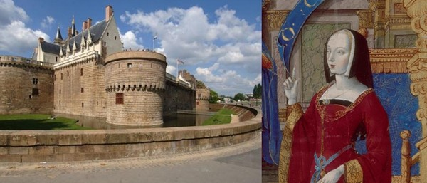 Château de Anne de Bretagne à Nantes et son portrait .  ©  Histoiredelatoisondor bnf