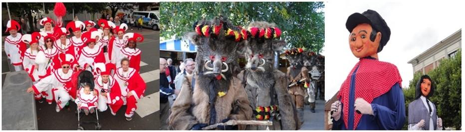 Les groupes folkloriques belges d'Arlon : les Pierrots, les Sangliers et les Géants. ©Bertrand Munier