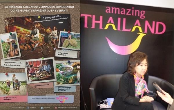 De gauche à droite : Affiche de lancement des nouvelles niches touristiques en Thaïlande    © Office National du Tourisme de Thaïlande; Madame Juthaporn Rerngronasa, gouverneur du tourisme de la Thaïlande lors du salon IFTM Top Résa 2016 à Paris  © Lindigomag