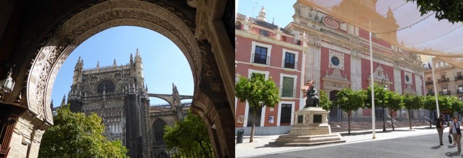 la cathédrale et l'alcazar, l'un des deux plus importants monuments la ville. Avec autour l'entrelacs des ruelles, les façades aux balcons en fer forgé, les cours secrètes : l'ancien quartier juif de Santa Cruz  © C.Gary