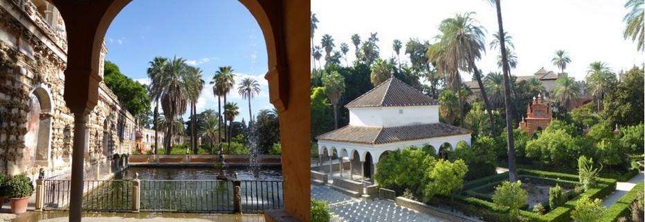 L'alcazar, un jardin somptueux construit sur les bases des anciennes murailles omeyyades.  © C.Gary