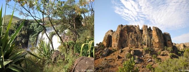 De gauche à droite : chute de la Lily et  l'Isalo avec ses massifs de grès sculptés par l'érosion. © Yann Menguy