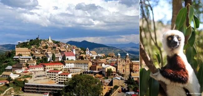 De gauche à droite : Vieille ville de Fianarantsoa © ONTM ; Zahamena avec orchidées et lémuriens.  © Yann Menguy