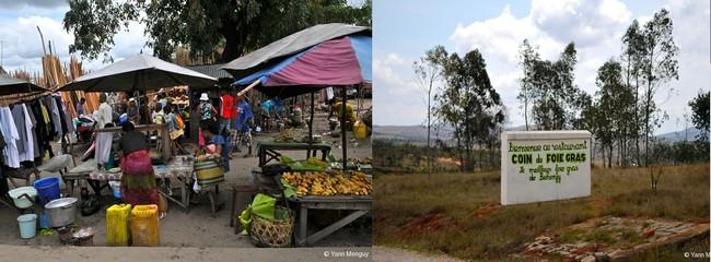 De gauche à droite : Marché à Tamatave © Yann Menguy ; Producteur de foie gras  © Yann Menguy
