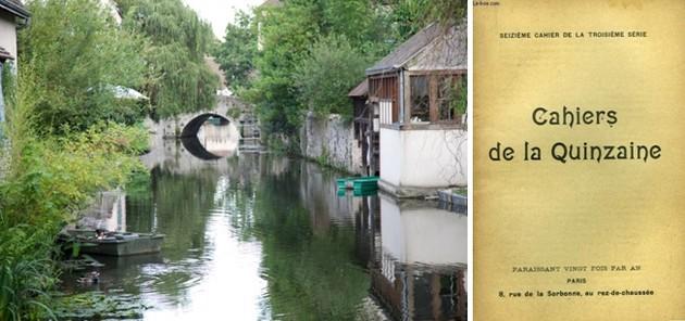 De gauche à droite : Une vue très poétique dans la ville de Chartres    © O.T.ville de Chartres; Un des Cahiers de la Quinzaine dont le contenu date d'un siècle. Un contenu qui est d'une grande actualité aujourd'hui.   © DR