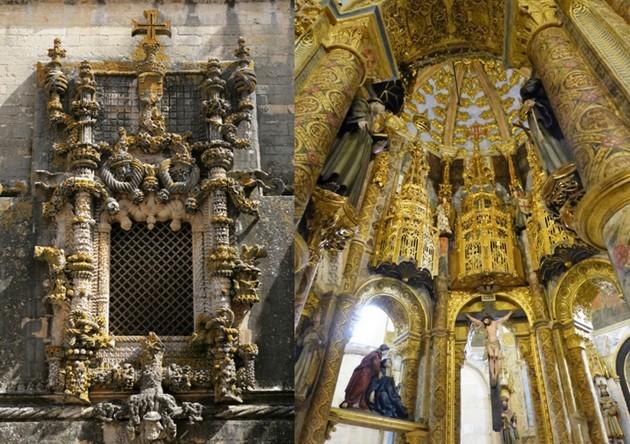 de gauche à droite :  Couvent du Christ à Tomar   © O.T. Portugal ;Tomar intérieur de la somptueuse rotonde   ©  JMT.