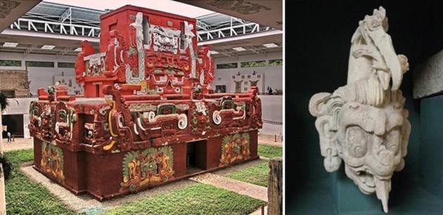 Dans le musée de Copan à voir, entre autres vestiges préservés,  une  magnifique reproduction en taille réelle du temple Rosalila.  © Association Guatemala et  © Catherine Gary