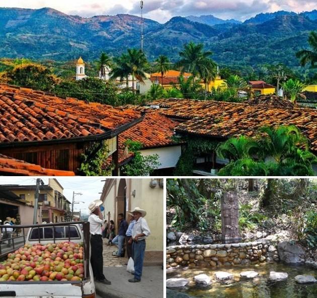 En haut : Hacienda San Lucas dans un cadre de toute beauté et ferme à proximité  © DR ; En bas de gauche à droite : Le marché matinal de Copan Ruinas;  © Catherine Gary; Spa en pleine nature d'Aguas termales ;  © Catherine Gary