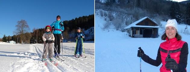 1/ Les familles accourent au Domaine des Truches. ©Bertrand Munier ;  2/ Du ski sur fond carte postale. ©Bertrand Munier