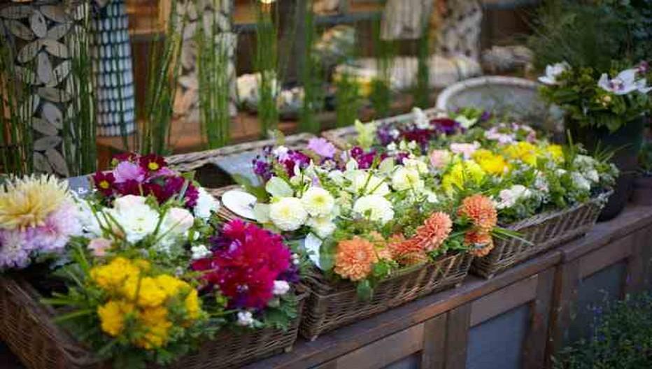 Jardinières fleuries en guise d'accueil à la devanture de  la boutique Aoyama Flower Market  rive gauche à Paris. © DR