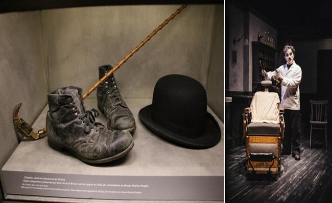 De gauche à droite : les fameux accessoires de Charlot. © Ph. Degon ; Dans le Studio, lr barbier du Dictateur attend le visiteur © Bubbles Incorporated