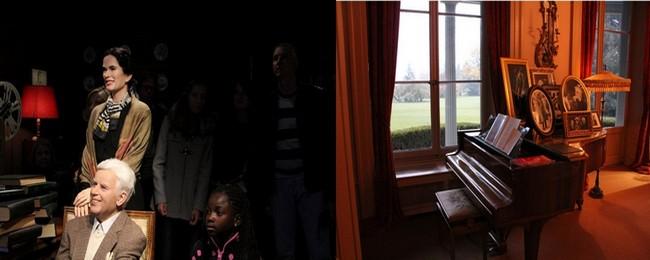 De gauche à droite : Au manoir, séance photo en compagnie d'une visiteuse. © Ph. Degon ; Dans le salon du manoir, le piano sur lequel joua Clara Haskil.  © Ph. Degon