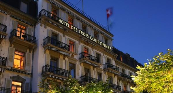 Hôtel des Trois Couronnes à Vevey Le luxe discret d'une hôtellerie de bon aloi et face au lac Léman  © www.hoteltroiscouronnes.ch