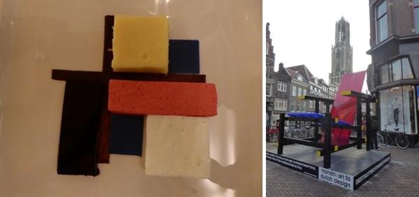 De gauche à droite : Un dessert façon Rietveld © Catherine Gary; Contrastes majeurs à Utrecht  avec la chaise en bois rouge et bleu qui va devenir un succès international avec en arrière plan  la cathédrale.  © Catherine Gary