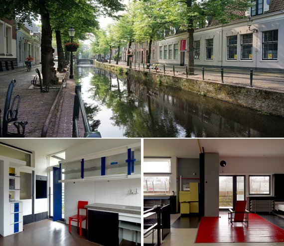 Le canal devant  la maison de Mondrian à Amersfoort © Catherine Gary; En bas à gauche : « La maison Schröder de Rietveld, à Utrecht, est une icône du mouvement moderne en architecture et une expression exceptionnelle du génie créateur humain dans la pureté des idées et des concepts qui la sous-tendent, tels que développés par le mouvement De Stijl » © Mike Bink.