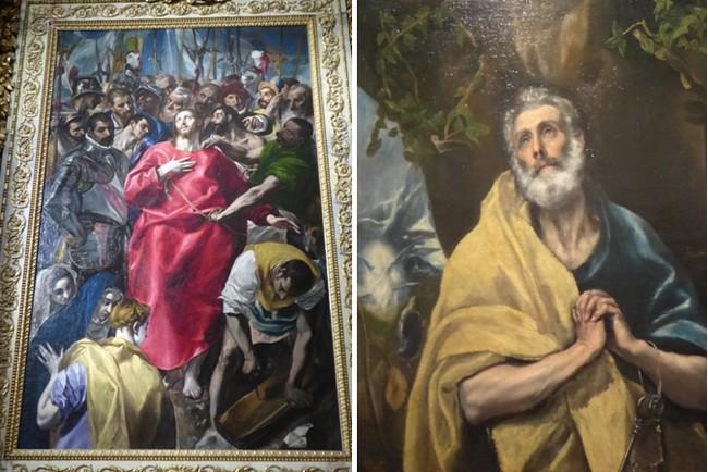 De gauche à droite : Le partage de la tunique du Christ Le Gréco - Sacristie de la cathédrale de Tolède - ;Saint Pierre peint par Le Greco   © Catherine Gary