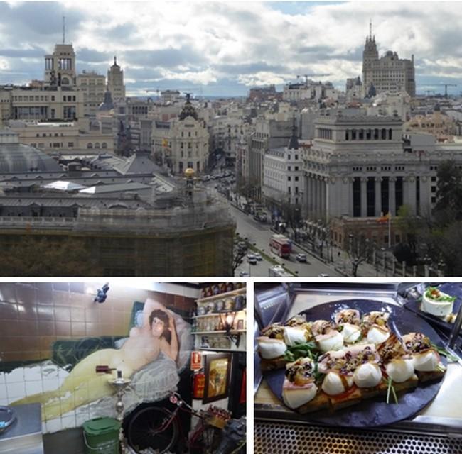 Vue d'en haut sur Madrid © O.T. Espagne; Maja nue au Bar Los Gatos; Los Gatos pour son décor et ses tapas. © Catherine Gary
