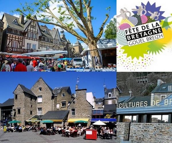 En haut à gauche jour de marché à Saint-Brieuc. En bas à gauche les cafés et restaurants bordent les hautes maisons traditionnelles bretonnes de Saint-Brieuc. Crédit photos Tourisme Bretagne.