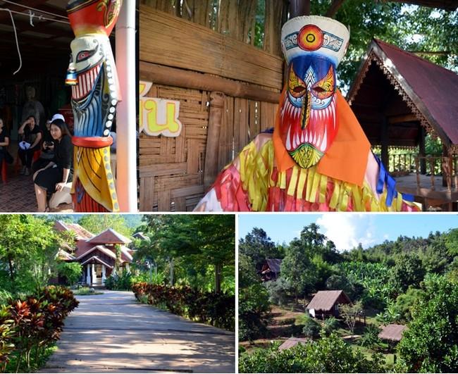 En haut de gauche à droite : La fête lors du festival Phi Ta Khon  qui se déroule du 24 au 26 juin dans la commune de Dan Sai (Thaïlande) © David Raynal ; En bas de gauche à droite : l'hôtel Phuna Come, commune de Dan Sai à Loei ;© David Raynal