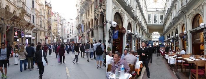 De gauche à droite : artère piétonne du quartier Pera; Un restaurant couvert dans les passages....  © C.Gary
