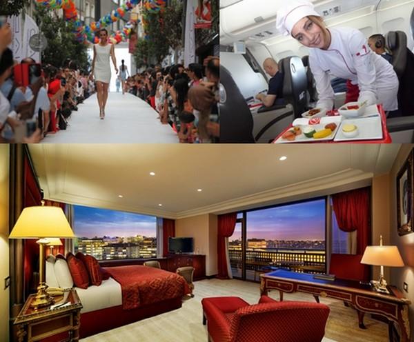 De gauche à droite : 7è édition de Istanbul Shopping Fest; Une hôtesse de la  Atlas Global Airlines; en bas : Une suite  au Hilton Istanbul Bosphore. © DR © C.Gary