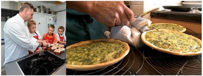 De gauche à droite : Atelier de cuisine pour enfants © Les Castors; ; Plats de la tarte aldjot une spécialité wallonne © O.T. Belgique