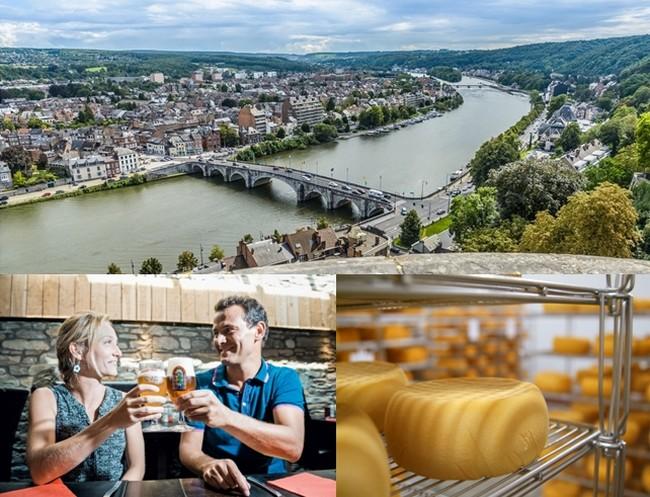 De haut en bas : Panorama de la ville de Namur (Belgique) (c)WBT-J.P.Remy; A Saint-Hubert LaTableDesChampions-Biere (c)WBT-BrunoDalimonte; Fromage du Village de Chimay (c)WBT-JLFlemal