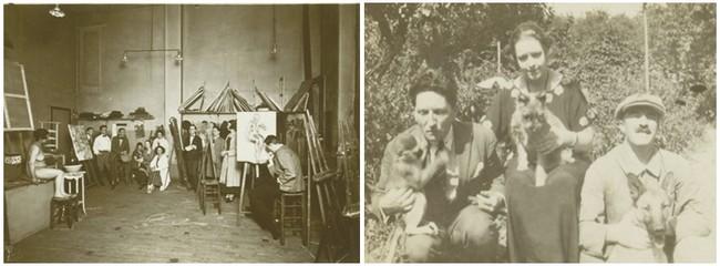 De gauche à droite, Fernand Léger et le critique d'art Maurice Raynal en visite dans l'atelier du peintre rue Notre-Dame des Champs à Montparnasse vers 1930. Crédit photo D.R. Maurice Raynal, Germaine Raynal et Fernand Léger à la campagne aux prises avec une drôle de ménagerie. Crédit photo D.R.