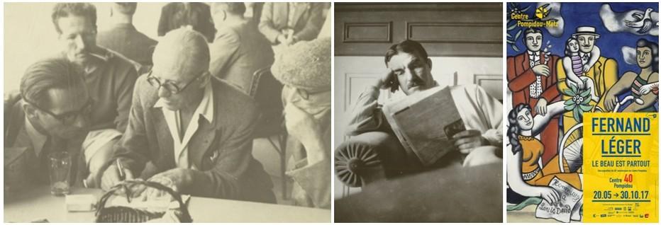 De gauche à droite,  l'architecte Le Corbusier dessinant. Crédit photo D.R.Le peintre Fernand Léger lisant sont journal. Crédit photo D.R.
