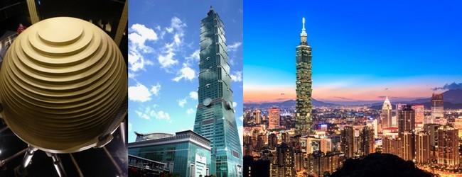 Photo 1/ Une boule d'acier de 660 t suspendue en haut de la Tour 101 anti-sismique; 2/ La Tour 101 emblème de la capitale chinoise © C.Gary Taïpei capitale du Design en 2016;© Lindigomag/Pixabay