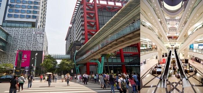 De gauche à droite : Xinyi Quartier commerçant de Taipei; Centre commercial de la Tour 101 de Taïpei © C.Gary