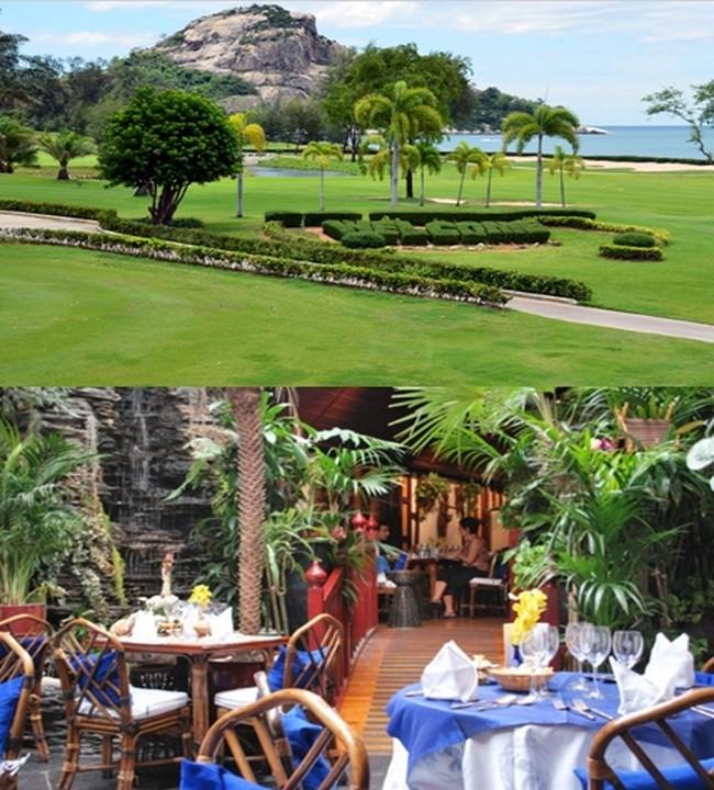 Le Sea Pine Golf Hua Hin est l'un des plus récents parcours de golf à Hua Hin. Il se trouve face à la zone balnéaire de Khao Takieb au sud de la ville. Ce parcours de 18 trous qui longe la mer est notamment divisé par le chemin de fer qui connecte Bangkok à Phuket.De haut en bas :    ©  David Raynal ;  © Lindigomag/Pixabay