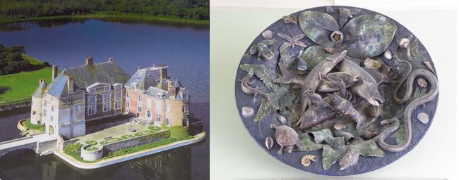 Château de la Bussière © OT La Bussière; Oeuvre du musée de la pêche dans le Château de la Bussière  © C.Gary
