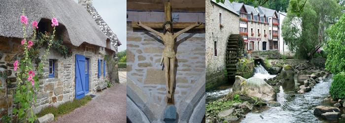 Dans le village de Kerascoët, ses chaumières traditionnelles en granit et toits de chaume; Le Christ de Pont-Aven qui inspira le tableau de Paul Gauguin (voir ci-dessous le Christ Vert) et un magnifique moulin de la ville de Pont-Aven .© C.Gary et © Lindigomag/Pixabay