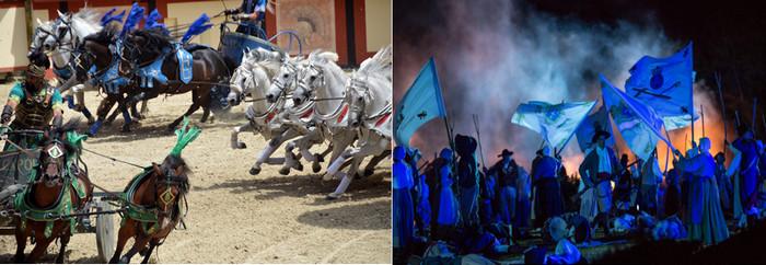Images des spectacles du Signe du Triomphe et de la Cinésecénie. Crédit photos David Raynal et Puy du Fou D.R.