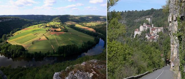 De gauche à droite : Le Saut de la Mounine  à une dizaine de kilomètres de Cajarc, sur la rive gauche du lot, après le château de Salvagnac et le petit village aveyronnais de Saujac,© OT Lot et Wikipedia
