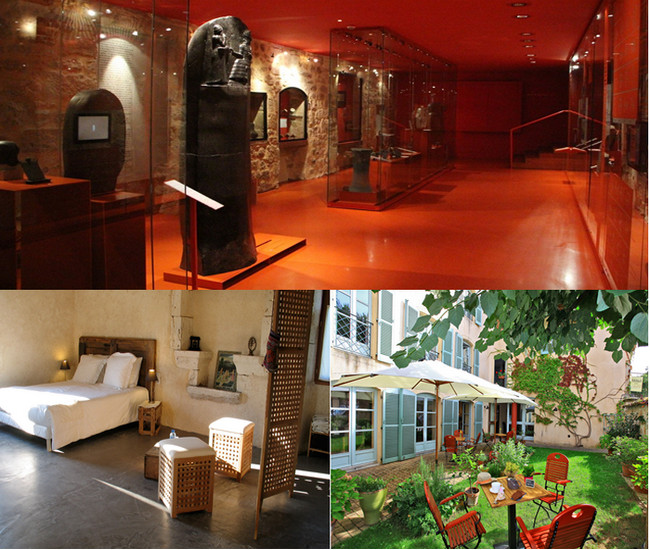 En haut :  Musée de Champollion ; Lou Repaou, chambre d'hôtes; Hôtel 14, Figeac ,le jardin © Lot Tourisme