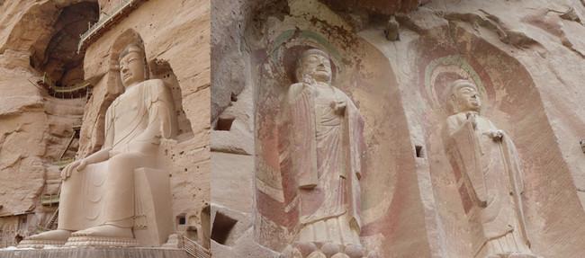 Le site de Bingling avec 183 grottes creusées à même la falaise. A l'intérieur, 700 statues bouddhiques de pierre et d'argile, des centaines de fresques en partie épargnées par l'érosion et un Bouddha Maitreya de 27 mètres .© Catherine Gary