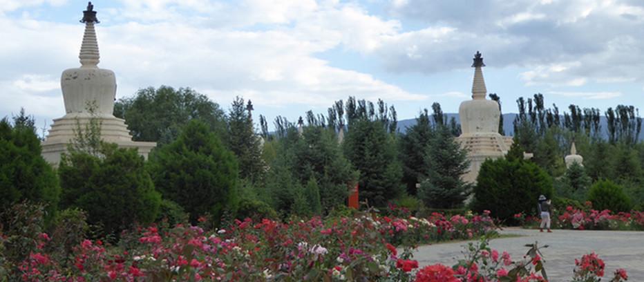 Au temple Baïta un lieu propice à la méditation tout en profitant des parterres de roses rouges qui ornent ce jardin de pagodes.© Catherine Gary