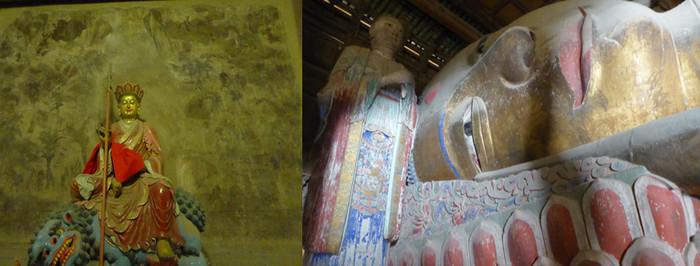 A  l'intérieur du temple parmi les fresques et les nombreuses statues, on peut admirer le grand bouddha couché Sakyamuni, un géant polychrome du XIè siècle.   © Catherine Gary