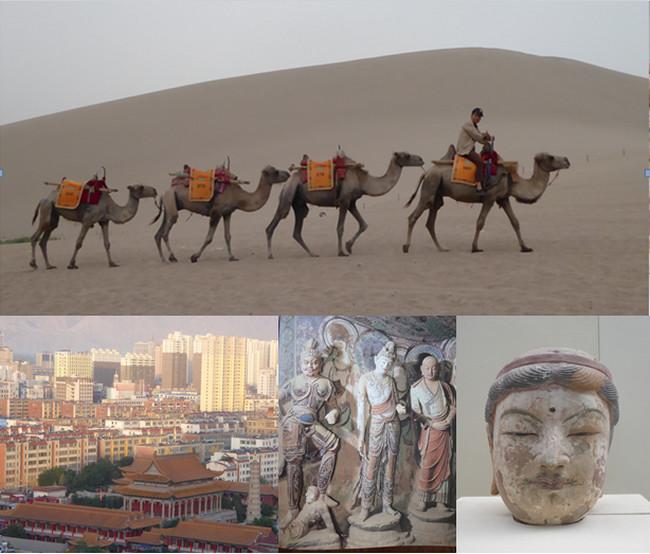 La caravane sur la route de la Soie; Le Temple de Confucius; Statues à Mogao; Oeuvre du musée de Lanzhou   © Catherine Gary