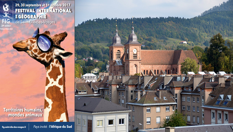 Du 29 septembre au 1er octobre, la ville de Saint-Dié-des-Vosges accueille la 28e édition du Festival International de géographie. Copyright Affiche FIG  et paysage David Raynal