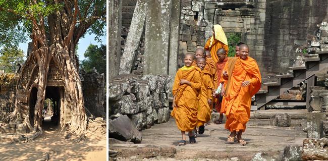 Angkor sommeille depuis des siècles sous la garde des racines aériennes de sa forêt tropicale  et sous la protection des nombreux moines boudhistes qui déambulent dans les ruines. © Lindigomag/Pixabay