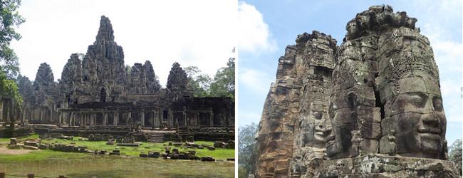 Bayon :  56 tours (aujourd'hui 37) entièrement sculptées dont chacune arbore sur ses quatre côtés le sourire énigmatique de Bouddha en version XXL…  © C.Gary