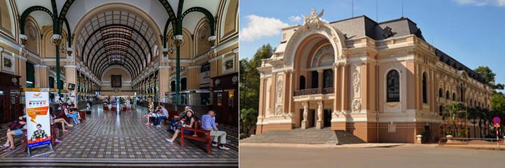 La capitale du sud Vietnam, une ville de plus en plus branchée où les bâtiments tels l'opéra ou la poste centrale  témoignent encore de la présence française,© Wikipedia